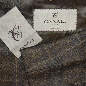 NWT $1995 38R Canali 1934 Current Brown Blue coat